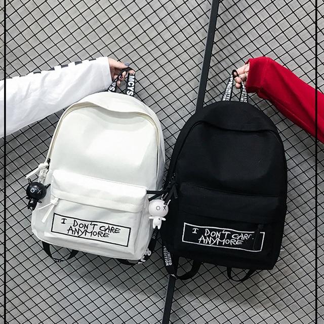 Keten sırt çantası Harajuku tarzı kadın sırt çantası bebek kolye omuzdan askili çanta yüksek kaliteli kız okul sırt çantası Mochila sırt çantası