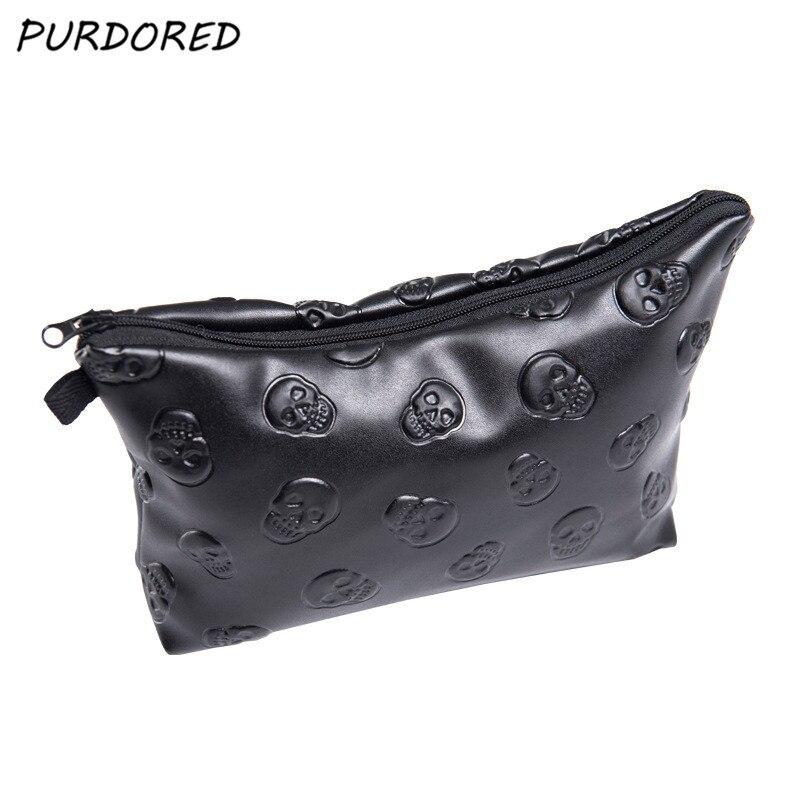 PURDORED 1 Pc Black Skull Cosmetic Bag Women PU Leather Makeup Bag Travel Organizer For Cosmetics Toiletry Kit Bag Dropshipping