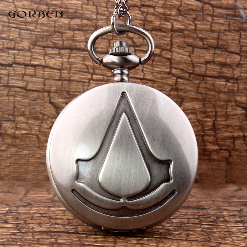 Retro Bronze Silver Assassin's Creed Game Quartz Pocket Watch For Women Men With FOB Necklace Chain Clock Vintage Pendants Gifts vintage bronze quartz pocket watch glass bottle antique fob watches classic men women necklace pendant clock with chain gifts