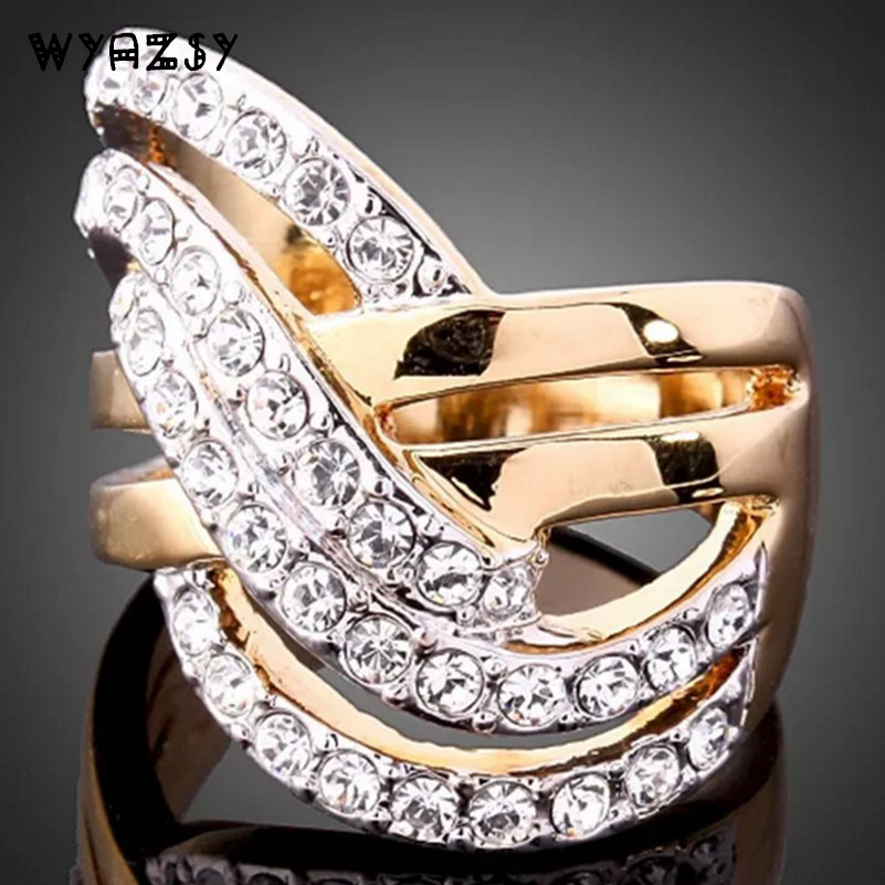 Fashion Crystal Rings high quality Gold Color Jewelry Wholesale Wedding Rings Female engagement accessories Free Shipping WYAZSY