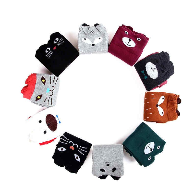 1 пара, милые детские хлопковые Гольфы выше колена с героями мультфильмов высокие теплые мягкие детские длинные носки с изображением животных, медведя, кота, Осень-зима