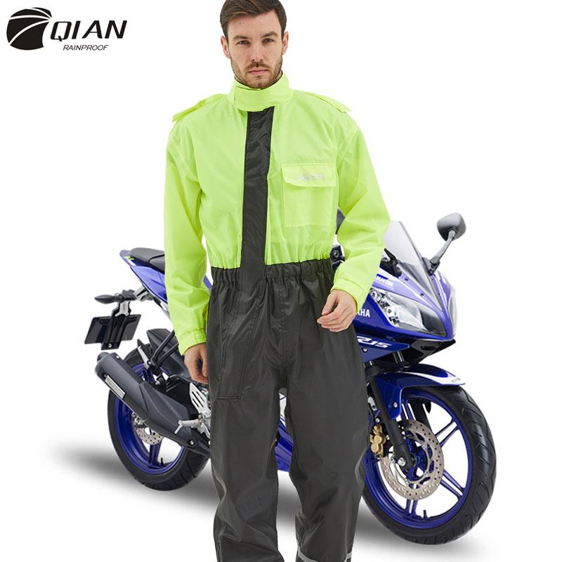 QIAN Impermeable One-Piece Raincoat Women&Men Suit Rain Coat Outdoor Motorcycle Raincoat Fishing Climbing Rain Gear Jumpsuit