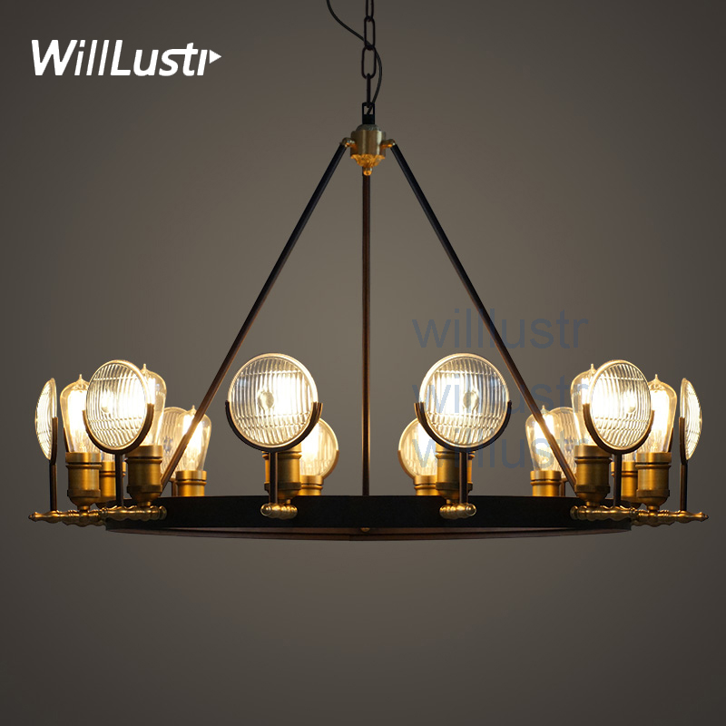 Willlustr vintage ribbed glass shade pendant lamp Bar cafe hotel home use hanging Lighting metal antique bronze suspension light willlustr fabric wall lamp beige cloth light europe bronze lighting fixture bedside claridge double sconce with linen shade