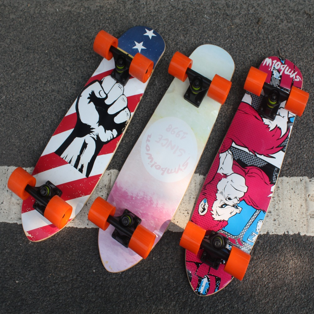 Trendy Painting Sports Skateboard Adult Children 4 Wheel Brush Street Maple Scoot ABEC-7 ...