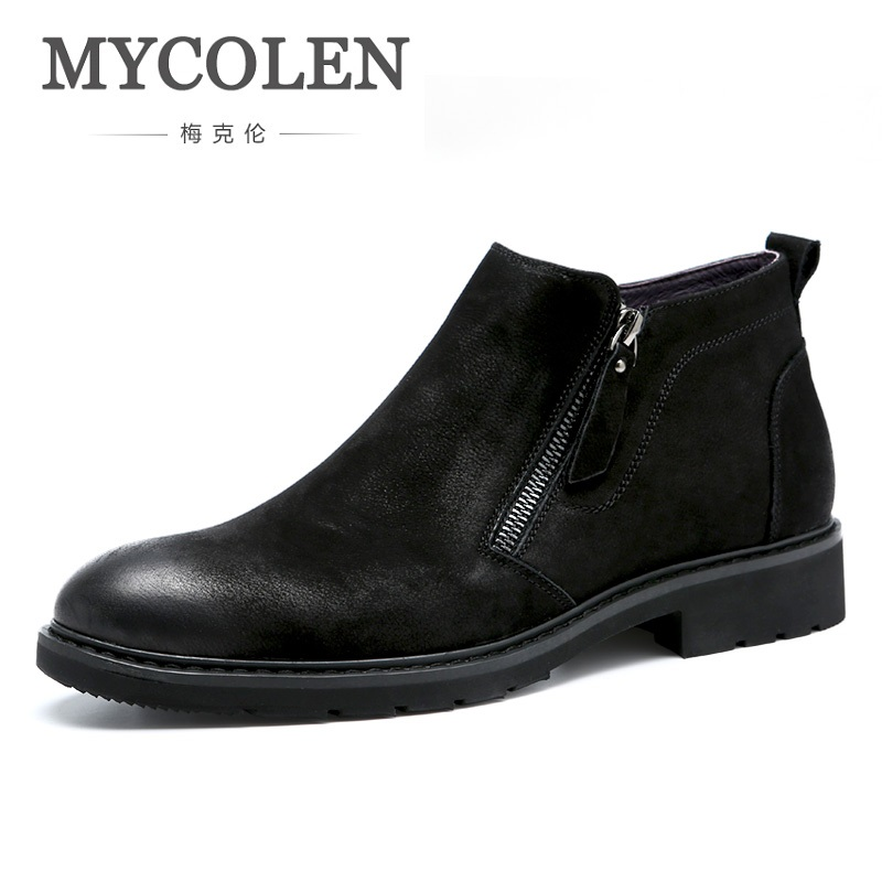 MYCOLEN Hot Sale Leather Men Ankle Snow Boots Leisure Martin Boot Autumn Shoes Mens Round Toe Plush Fur Winter Fashion Shoes mycolen new men s winter leather ankle boots fashion brand men autumn handmade boots leisure martin autumn boots mens shoes