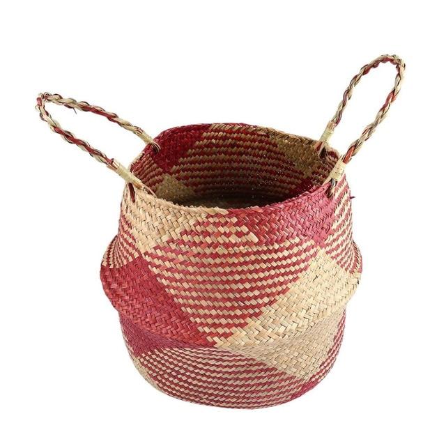 S/M/L/XL Seagrass Cesta de Vime Cesta de Vime Vaso de Flores e Plantador de Suspensão Dobrável Tecido Cesto de roupa Suja cesta De Armazenamento em casa