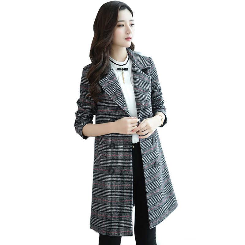 Весна длинный стиль шерсть; жаккард плед, кардиган пальто Корейская версия зимняя женская уличная кнопка кардиган плотное пальто