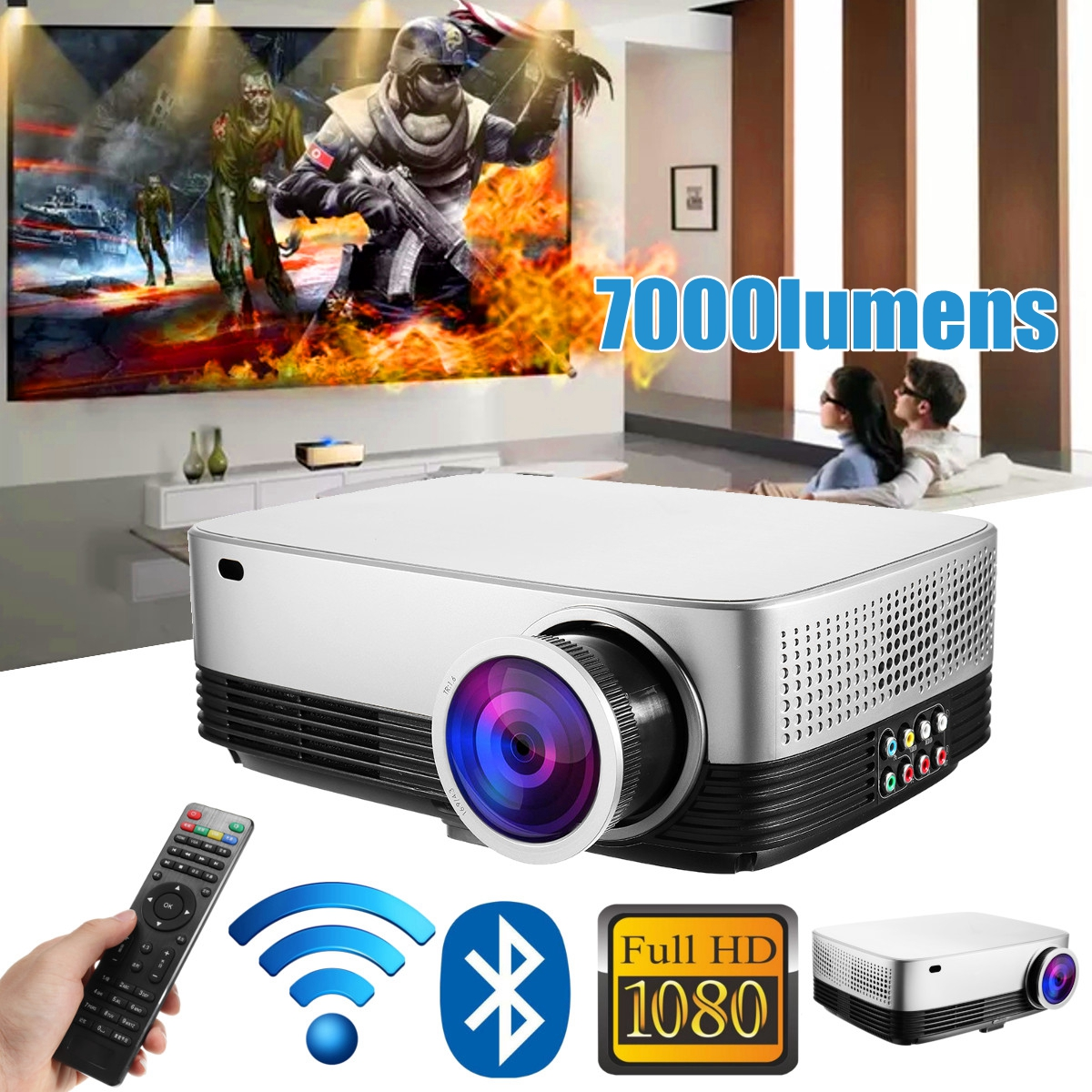 Portable LCD Projector Home Cinema Theater Movie wifi Bluetooth LED Proyector HD Mini Projectors Support 1080P 7000 Lumens