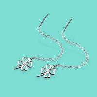 925 Sterling Silver Earrings For Women Long Pattern A Clover Pendant Solid Silver Earrings Lady Jewelry