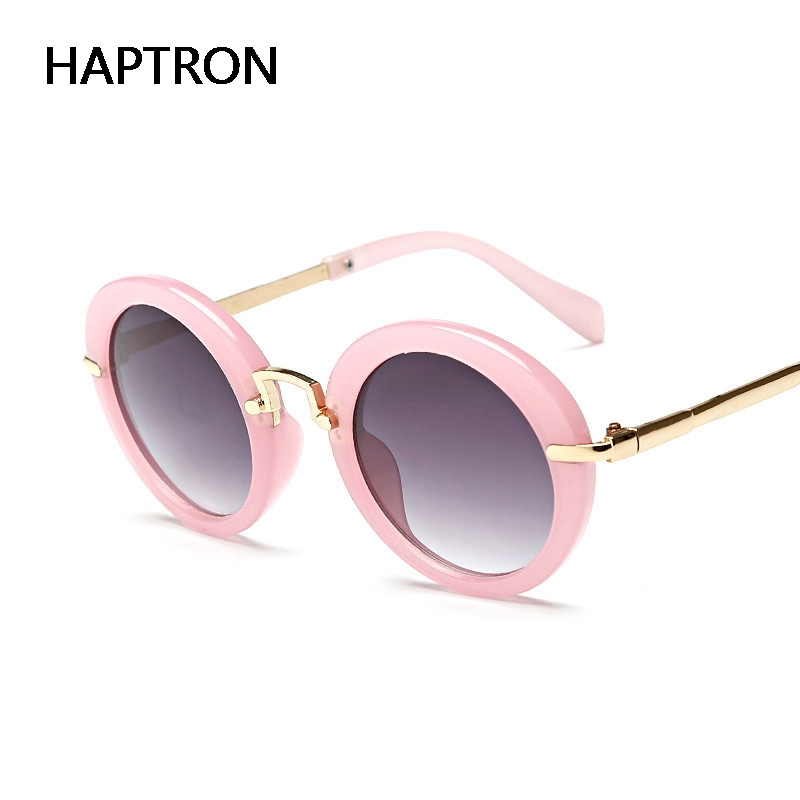 97a542e72264 HAPTRON new arrival round lovely kids sunglasses girls fashion goggle  protective glasses children Eyewear pink color