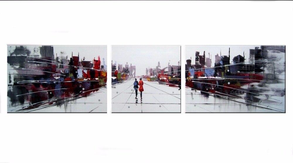 3 panneaux peints à la main moderne peinture à l'huile abstraite sur toile marcher dans la rue paysage photos pour salon mur Cuadros