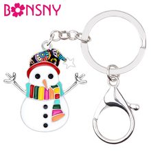 Bonsny Enamel Alloy Christmas ผ้าพันคอหวาน Snowman Key Chain แหวน(China)