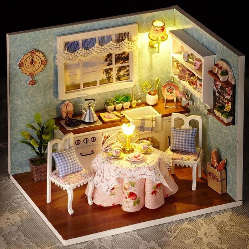 3D DIY Doll House Wooden Baby Doll Houses Miniature Dollhouse Furniture Kit Toys for Children Grownups Birthday Gift3D DIY Doll House Wooden Baby Doll Houses Miniature Dollhouse Furniture Kit Toys for Children Grownups Birthday Gift