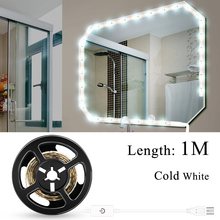 USB Bathroom Mirror Wall Lamp Led Strip Vanity Table Light Strip Waterproof Decoration Light Tape Touch Switch Dimmable ledstrip
