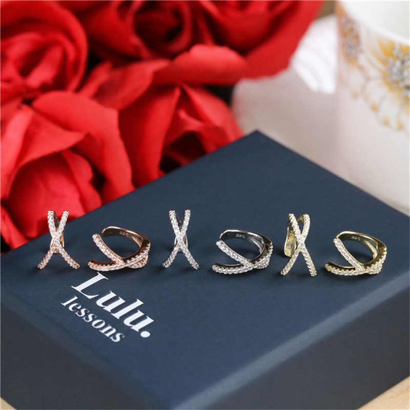 Fashion Cross No Pierced Small Earring Women Ear Cuff Jewelry Girl Clip EarCuff Micro Pave CZ Earrings boucle d'oreille femme