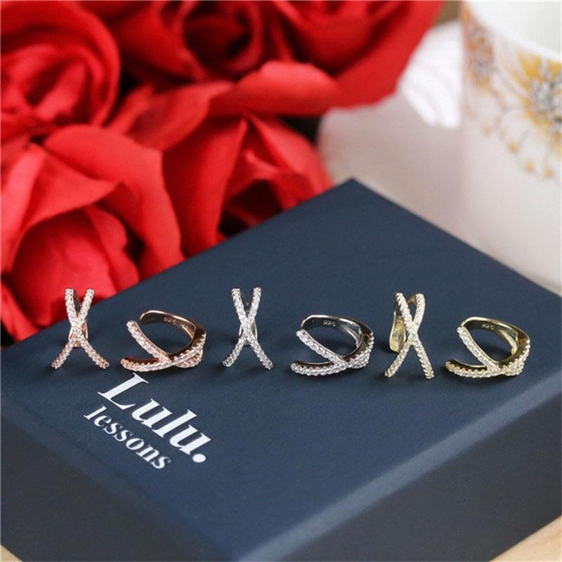Fashion Cross Fake Piercing Earrings Small Earings For Women Ear Cuff Jewelry Girl Clip Earcuff Micro Pave CZ Crystal Earrings(China)