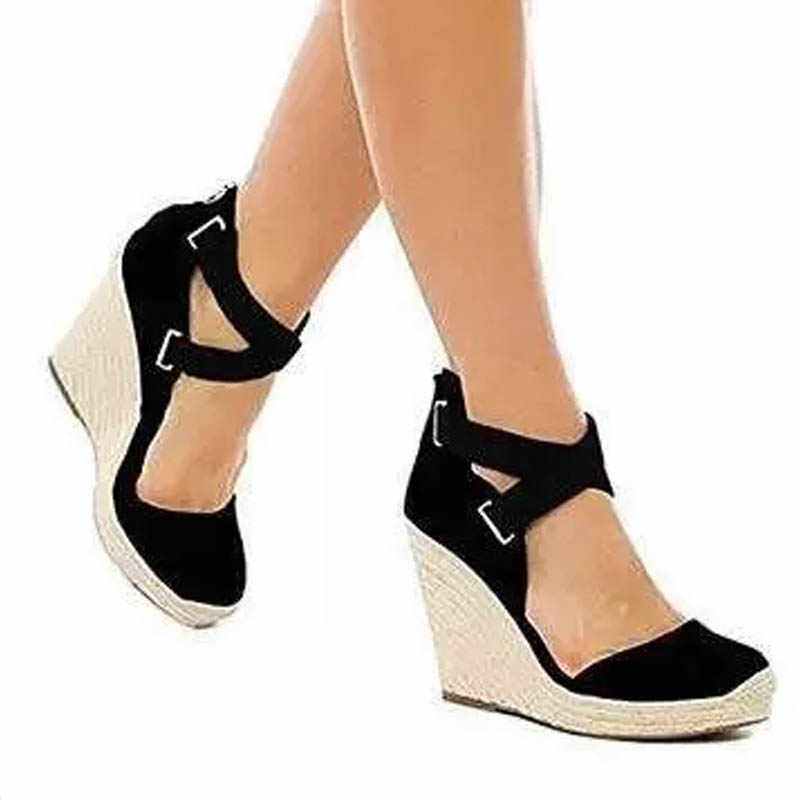 7bb912c0570 Women shoes high heels wedges pumps ladies sexy cross strappy platform  sandals espadrilles footwear woman big size zapatos mujer