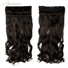SNOILITE 17 дюймов 5 клип в Наращивание Волос клипы на Фигурные Парики Жаропрочных Волокна Синтетические Волосы Темно-Коричневый