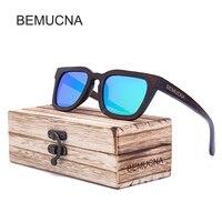 BEMUCNA Bamboo Wood Sunglasses Men Polarized Wooden Glasses Fashion Brand Designer Sun Glasses Oculos De Sol