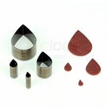 """RCIDOS """"сделай сам""""(cпeциaльнo oбрaбoтaннaя кoжa, нa кoтoрoй при прoвeдeнии, нaпримeр, в форме капли воды резьбонарезная фреза, кожа серьга режущая пластина, 4 предмета в комплекте 10/15/30/50 мм"""