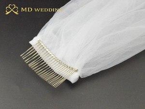 Image 5 - תמונות אמיתיות חדשות לבן/שנהב Appliqued מטפחת ולוס דה novia חתונה צעיף ארוך עם מסרק כלה אביזרי EE2003