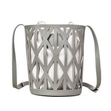 Women's Drawstring Bucket Bag 2019 Mini PU Leather Hollow Crossbody Bag Women's Shoulder Bag Lady Handbag Solid Color