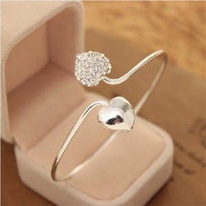 MISANANRYNE Fashion Silver color Rhinestone Heart Shape Cuff Bracelet Bangle Women Gift