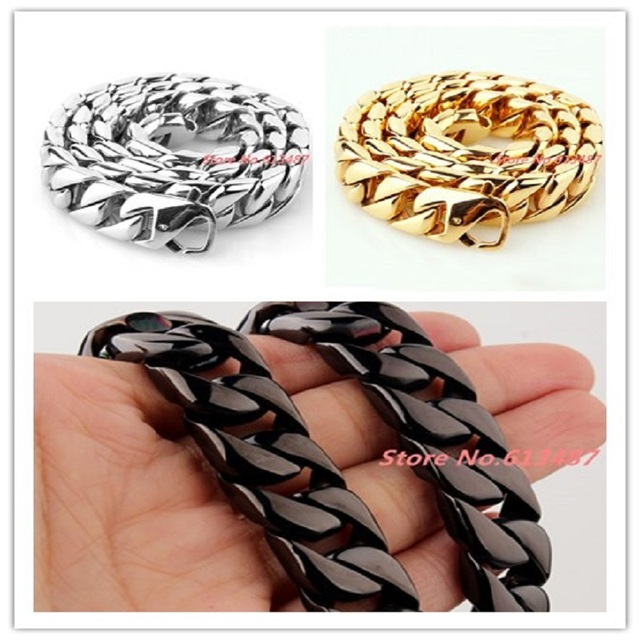 """New Arrival Silver Gold Black Heavy 7""""-40"""" 15mm Curb Cuban Casting Chain Necklace / Bracelet 316L Stainless Steel Mens Xmas Gift"""
