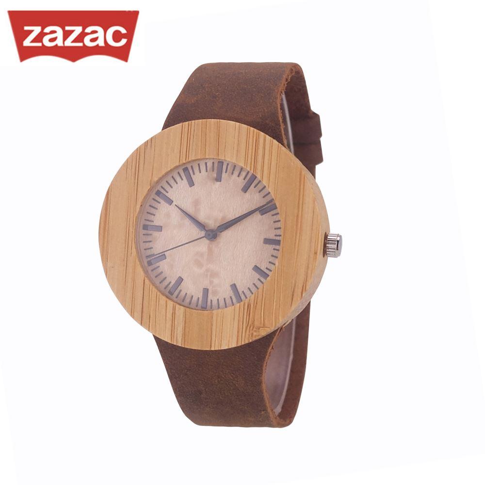 Zazac Round Case Wood Watch Unisex Design WristWatch Original Wooden Bamboo Watch Men Women Watches With Box Gift Dropshipping