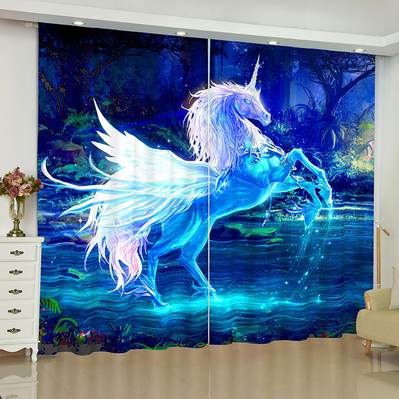 unicorn curtains for window unicorn Pegasus White horse blinds finished drapes window blackout curtains parlour room blinds-in Curtains from Home & Garden