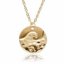 Senfai Roll Sea Wave Pendant Neckalce for Women,Charms Gold&Rose Gold&Silver Plated Neckalce Chocker for Women and Men Gender