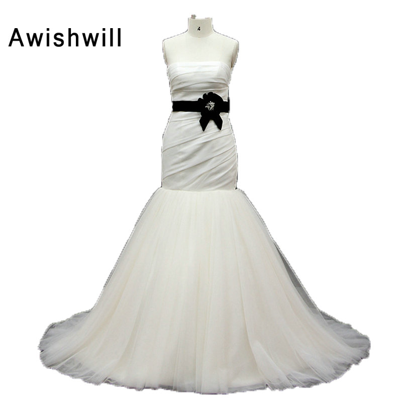 Strapless Detachable Belt Satin And Tulle Simple Design