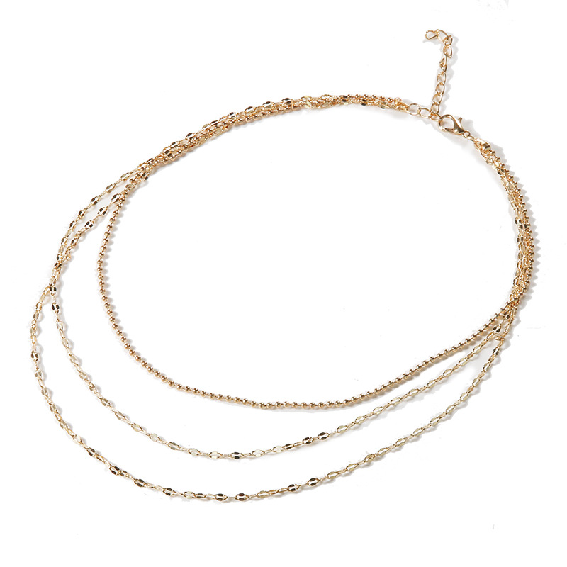 Fashion Multilayer Beads Classic Gold Chain Choker Necklace Women Party Jewelry Chic Simple woman choker necklace in Pendant Necklaces from Jewelry Accessories
