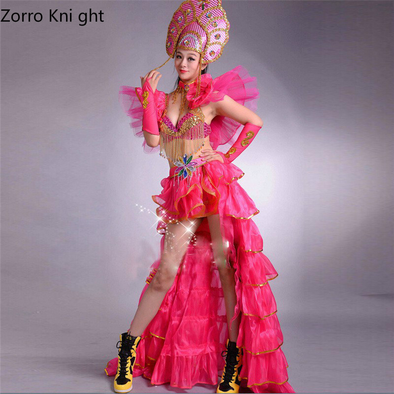 Ladies Dance Dress New 2018 Lady Opening Dance Skirt Costume Modern Dance Dress New Sexy Dance Costumes