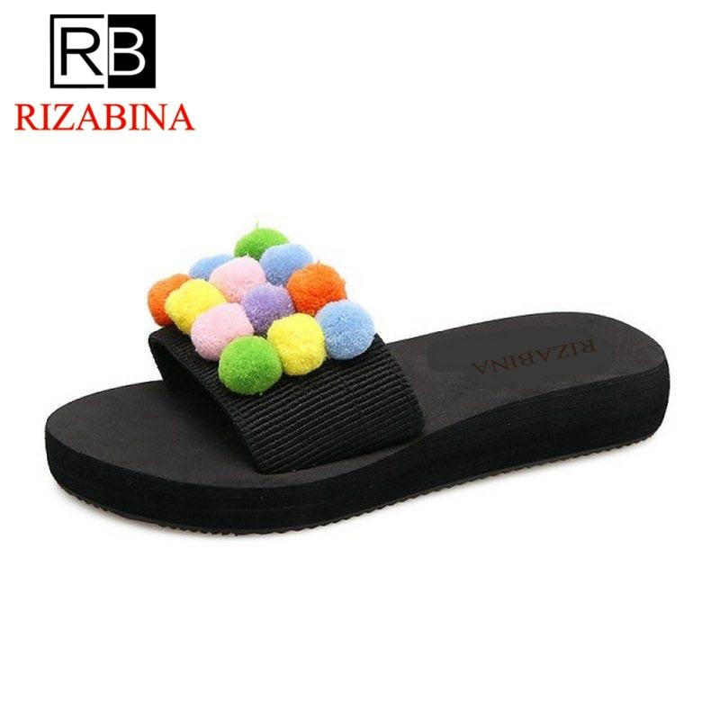 RizaBina Fashion Women Thick Platform Shoes Women Sweety Pompon Peep Toe Slippers Women Soft Trifle Footwear Size 35-39