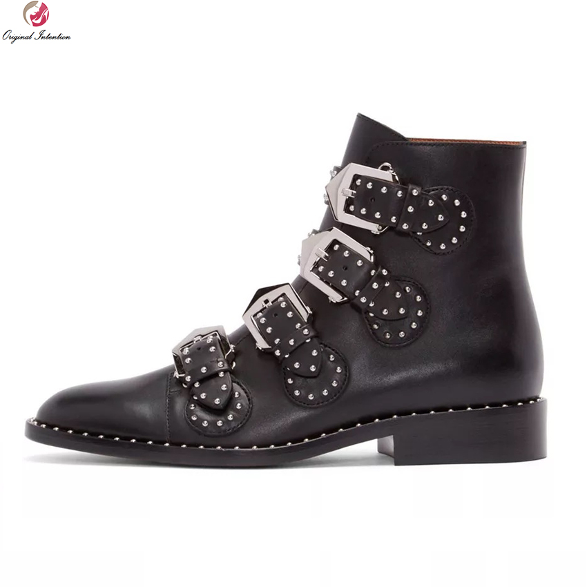 Original Intention Fashion Women Boots Round Toe Square Heels Boots Ladies Black White Green Shoes Woman Plus US Size 4-10.5