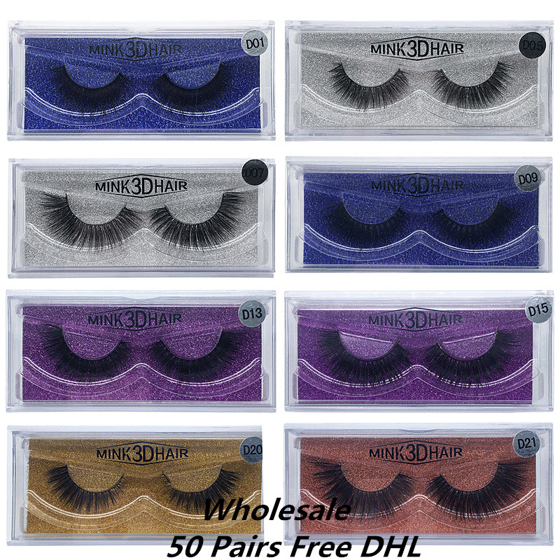 Free DHL 50 pairs 3D Mink Eyelashes Mink False Eyelashes Handmade Mink Collection 3D Dramatic Lashes 15Styles Glitter Packaging