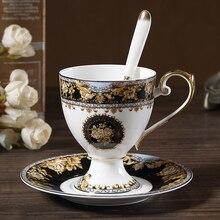 Европейский стиль роскошный Пномпень костяной фарфор кофейная чашка Британский элегантный послеобеденный чайный набор керамическая кофейная чашка и блюдце набор