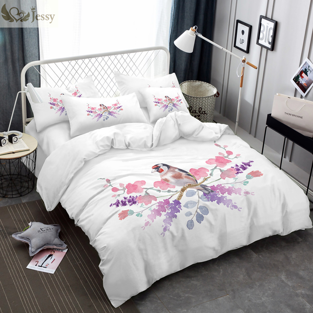 Home Textile Bedding Set Twin Full Queen King White Bed Linens Pink Plum Flowers Duvet Cover Set Pillow Cover