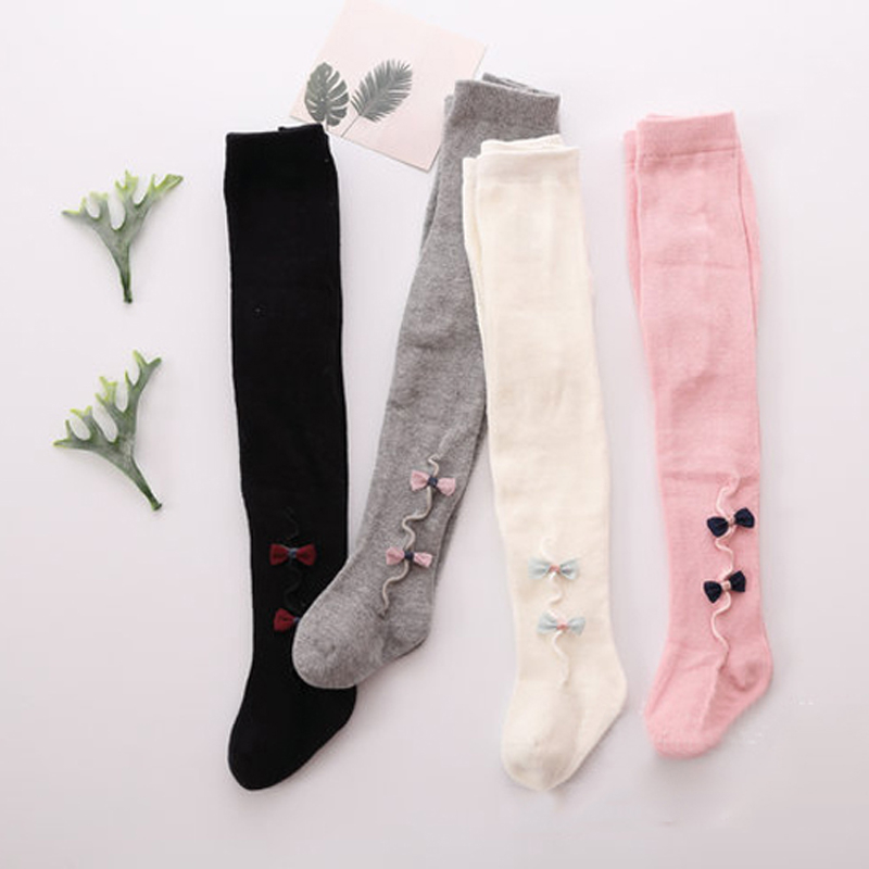 Baby Girls Elastic Tights Cartoon Stocking Spring Summer Princess Baby Girls Kids Bownot Tights 4colors