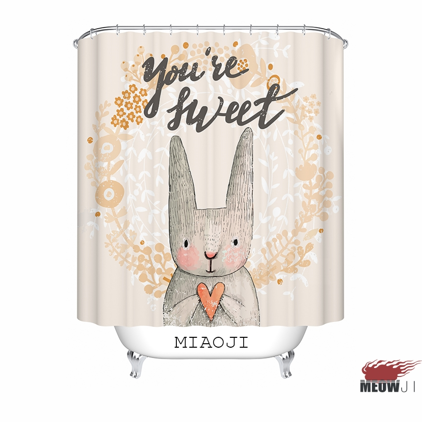 MIAOJI Watercolor Animals Cute Rabbit Bunny Bees Flowers Print Shower Curtain Multi Sizes Bathroom Decor Free Shipping In Curtains From