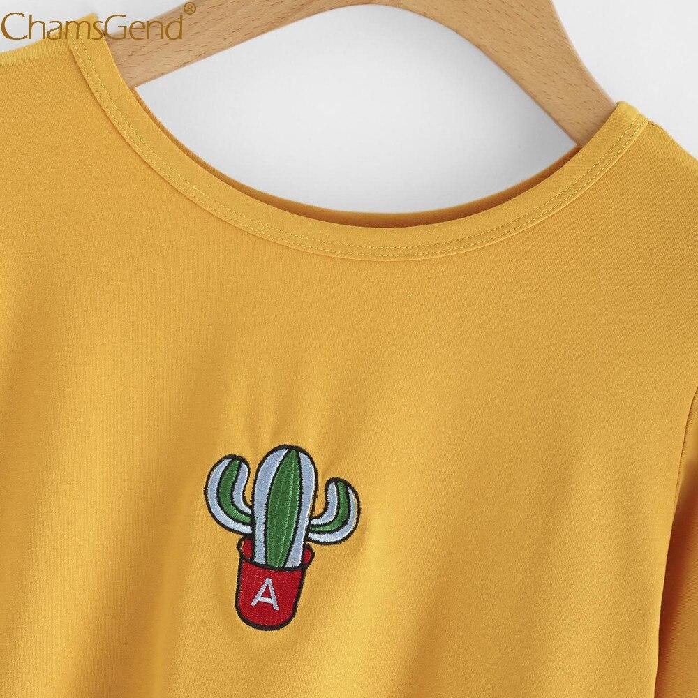 Chamsgend Hoodies Wanita Anak Perempuan Baru Bordir Kaktus Pola Sweater Leher Bulat Lengan Panjang Kuning Sweatshirt Atasan Blus 71226 Di Kaus Dari