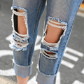 Spring 2017 Womens Blue Cotton Blend Hole Loose Harem Jeans Bleached Feminina Boyfriend Casual Jeans For Women Trousers 0303-40