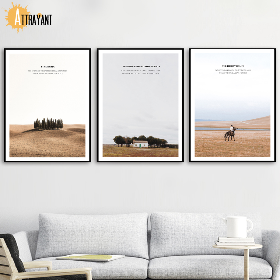 US $3 44 50% OFF|Desert Tree Grassland Horse House Man Wall Art Canvas  Painting Nordic Posters And Prints Wall Pictures For Living Room Decor-in