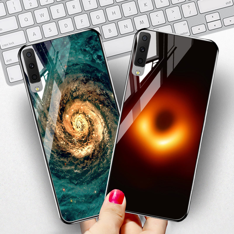 Black Hole Glass Case For Samsung Galaxy A7 2018 Case Silicone A5 A8 2018 A6 Plus J2 Core Prime J4 J6 J8 J7 2017 C7 Case Cover image
