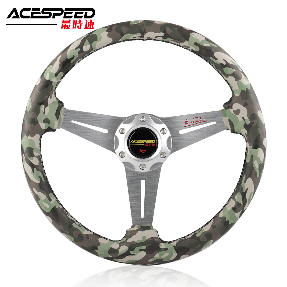 Steering wheel 350mm 14inch Racing drift steering wheel PVC rubber camo Aluminum frame
