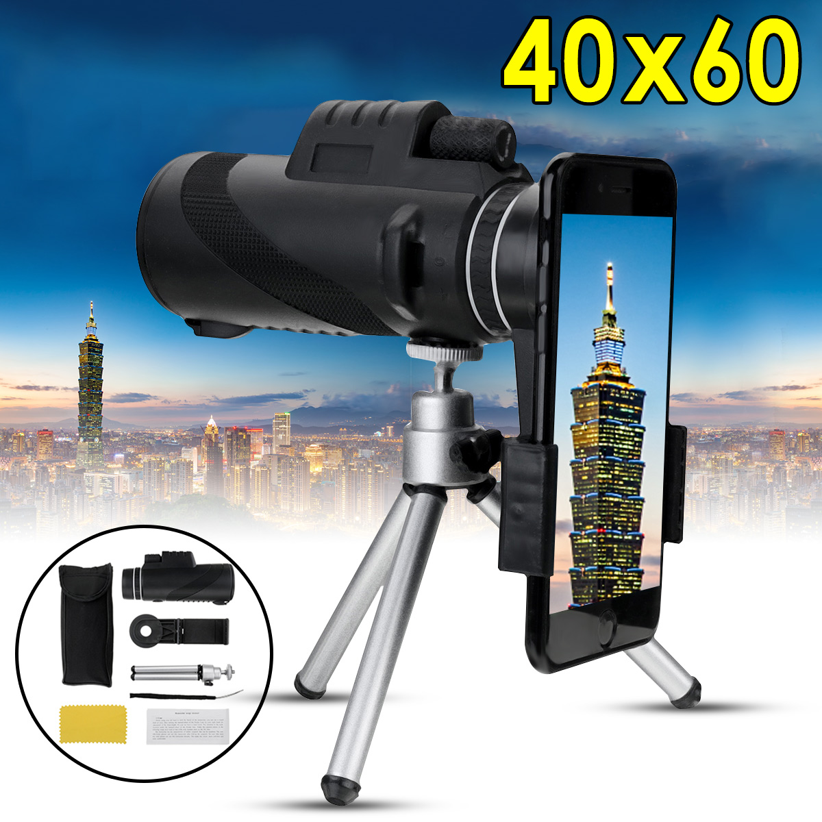 40X60 Zoom HD Objektiv Mini Nachtsicht Monocular Teleskop mit Stativ Telefon Clip Handheld Fernglas für Outdoor Jagd camping