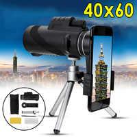 40X60 Zoom HD lente Mini visión nocturna telescopio Monocular con trípode Clip de teléfono binoculares de mano para caza al aire libre camping