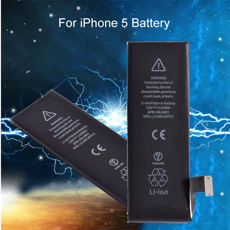 1440mAh 3.8V Battery for iPhone 5 Li-ion Internal Replacement w/Flex Cable Mobile Phone Built-in Lithium Battery For iPhone5 ...