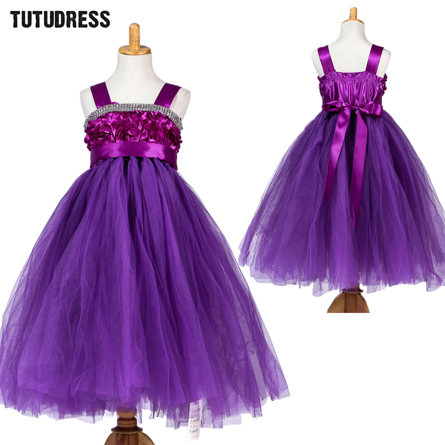2-12Y Flower Girls Tutu Dresses for Party and Wedding Baby Girl Tulle Dress for Kids Ball Gown Princess Dress for Little Girls